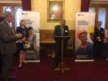 Dr John Curtis briefing guests on the new Basrah Museum Project at a Celebratory event at the House of Lords, June 2017 hosted by The Baroness Andrews OBE and Graham Sheffield CBE